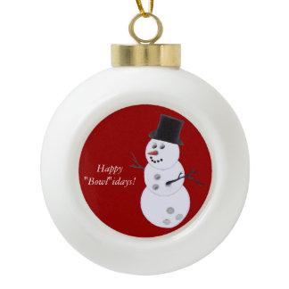 Bowling Ball Snowman Ceramic Ball Ornament