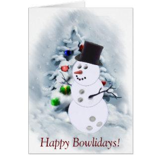 Bowling Ball Snowman Christmas Card
