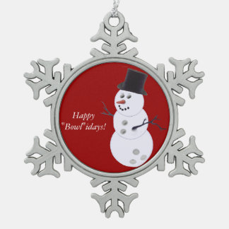 Bowling Ball Snowman Pewter Snowflake Ornament