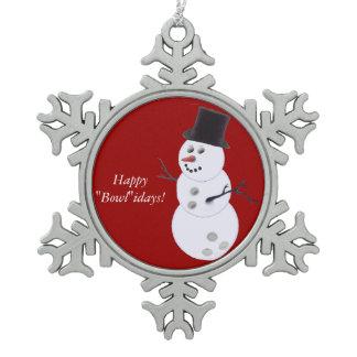 Bowling Ball Snowman Pewter Snowflake Ornament