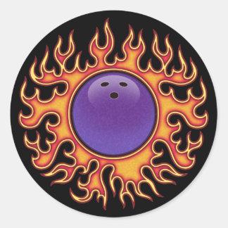 Bowling Balls-o-Fire Round Sticker