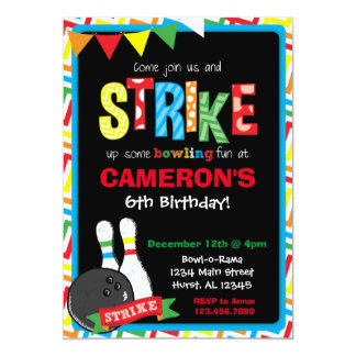 Bowling Birthday Invitation, Bowling Chalkboard Card