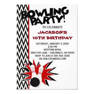 Bowling Birthday Party Custom Invitation