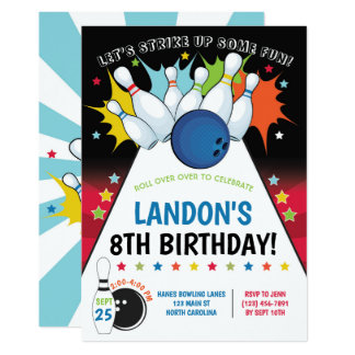 Bowling Birthday Party Invitation, Boy Card
