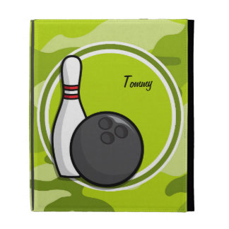 Bowling bright green camo camouflage iPad cases