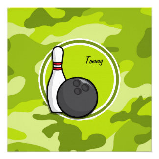 Bowling bright green camo camouflage announcements