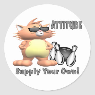 Bowling Cat: Attitude Classic Round Sticker