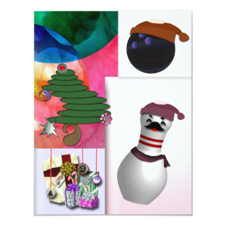 "Bowling Christmas Party 4.25"" X 5.5"" Invitation Card"