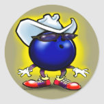 Bowling Cowboy Classic Round Sticker