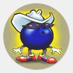 Bowling Cowboy Round Sticker