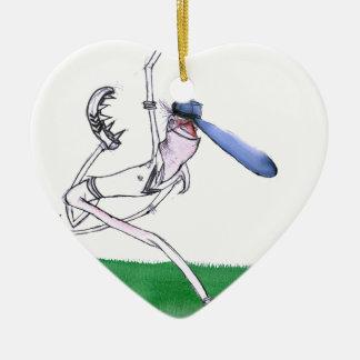 BOWLING - cricket, tony fernandes Ceramic Heart Ornament