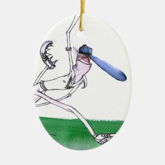 BOWLING - cricket, tony fernandes Ceramic Oval Ornament