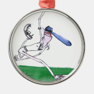 BOWLING - cricket, tony fernandes Silver-Colored Round Ornament