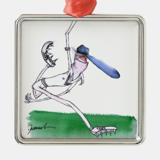 BOWLING - cricket, tony fernandes Silver-Colored Square Ornament