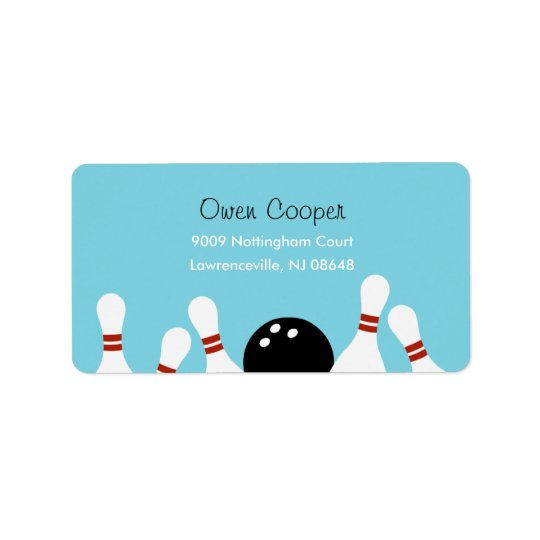Bowling Fun Address Label (Turquoise)