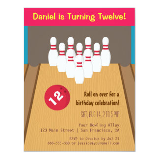 "Bowling Game Birthday Party Invitations 4.25"" X 5.5"" Invitation Card"
