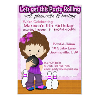 Bowling Girl Party Invite