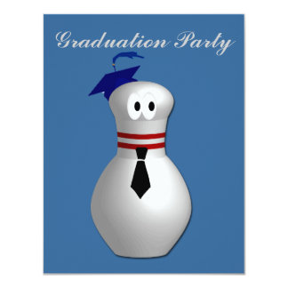 "Bowling Graduation Party 4.25"" X 5.5"" Invitation Card"
