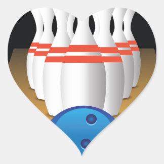 bowling heart sticker