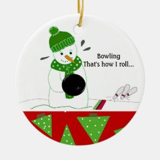 Bowling How I Roll Round Ceramic Ornament