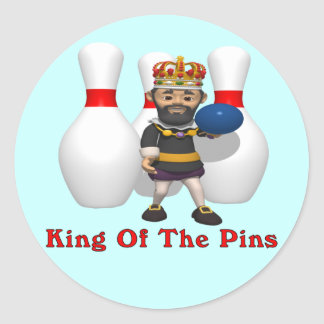 Bowling King Classic Round Sticker