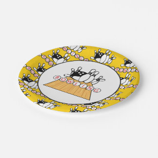 Bowling lane and pins Party paper plate 7 Inch Paper Plate