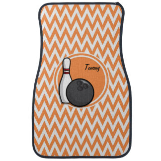 Bowling; Orange and White Chevron Car Mat