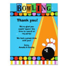 BOWLING PARTY 4x5 Flat Thank you note Card