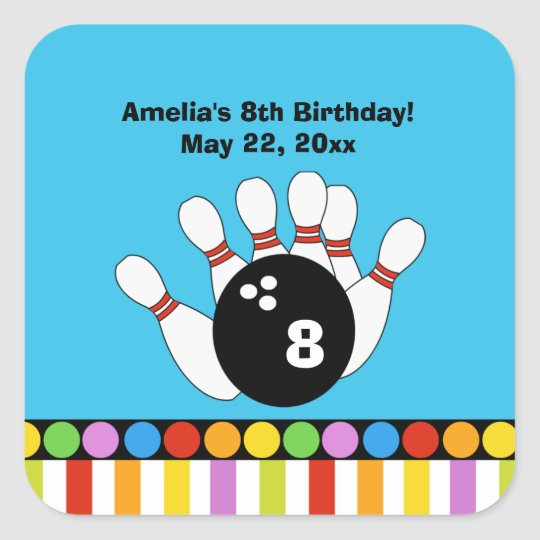 Bowling Party Birthday SQUARE Favour Sticker