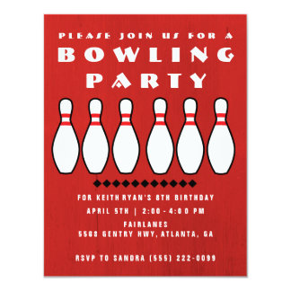 Bowling Party Boys 8th Birthday Party Card