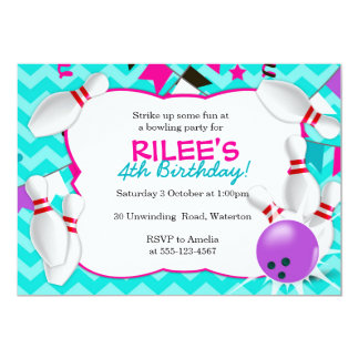 Bowling Party Invitation - GIRLS