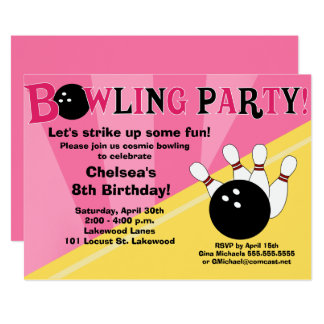 Bowling Party Invitation Girls Bowl Party