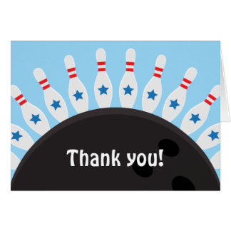 Bowling party thank you note card with pins, blue