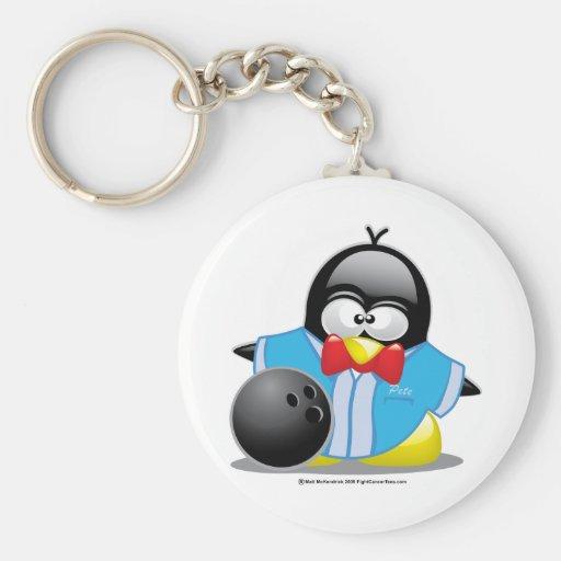 Bowling Penguin Basic Round Button Keychain