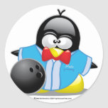 Bowling Penguin Round Sticker