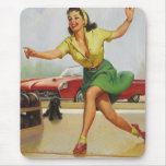 Bowling Pin Up Girl Mouse Pads