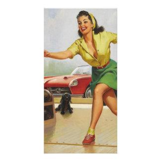 Bowling Pin Up Girl Photo Card