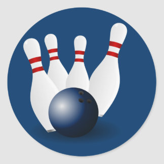 Bowling Pins and Ball Round Sticker