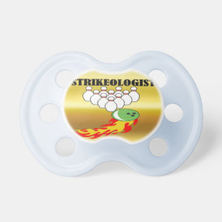 Bowling pins and ball with the word STRIKEOLOGIST Pacifier