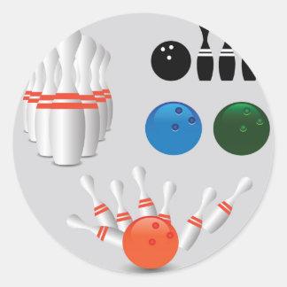 bowling pins classic round sticker