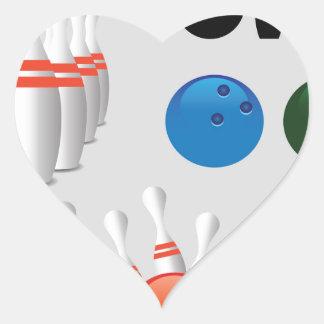 bowling pins heart sticker