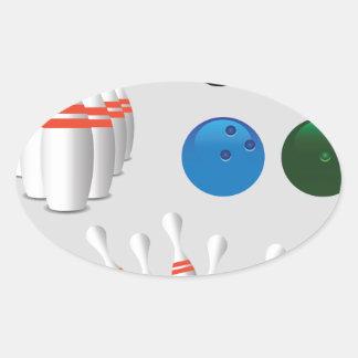 bowling pins oval sticker