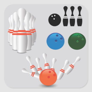 bowling pins square sticker