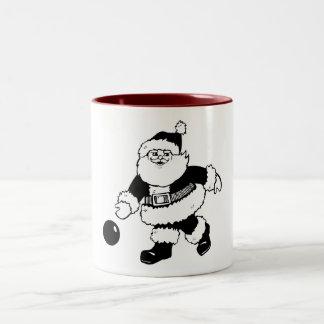 Bowling Santa Two-Tone Coffee Mug