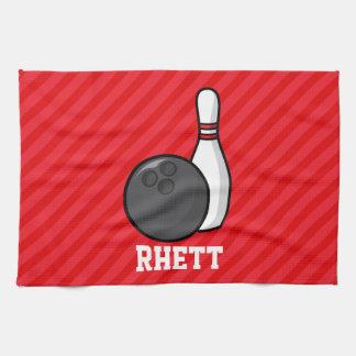 Bowling; Scarlet Red Stripes Kitchen Towel