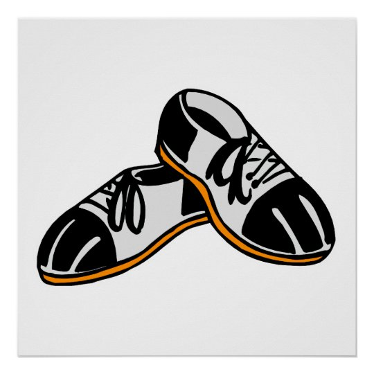 bowling shoes cartoon graphic poster