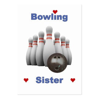Bowling Sister Hearts Business Card Template