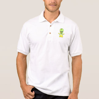 bowling skull and cross pin yellow green polo shirt