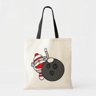 Bowling Sock Monkey Tote Bag