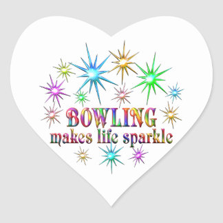 Bowling Sparkles Heart Sticker